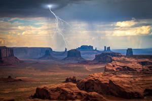 Papéis de parede EUA Rocha Nuvem negra de trovoada Raio Monument Valley Naturaleza imagens