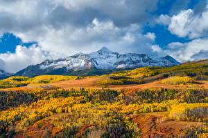 Fotos Vereinigte Staaten Berg Herbst Landschaftsfotografie Wolke Wilson Peak, Colorado Natur