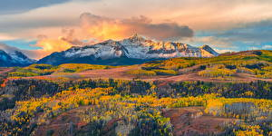 Fotos USA Gebirge Herbst Landschaftsfotografie Wolke Wilson Peak, Colorado Natur
