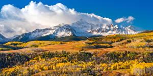 Hintergrundbilder Vereinigte Staaten Berg Herbst Landschaftsfotografie Wolke Wilson Peak, Colorado Natur