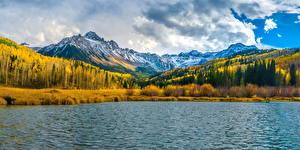 Sfondi desktop USA Montagna Lago Autunno Panorama Nuvole Mount Sneffels Natura