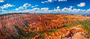Sfondi desktop USA Parchi Panoramica Il dirupo Gola geografia Nuvole Bryce Canyon National Park Natura