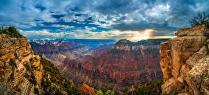 Sfondi desktop Stati uniti Parco Panoramica Parco nazionale del Grand Canyon Falesia Gola geografia Nubi Arizona Natura