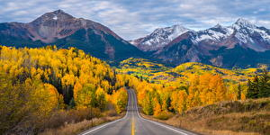 Sfondi desktop USA Paesaggio Montagne Strade Autunno Colorado