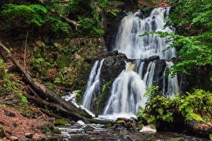 Image Waterfalls Stones Autumn Moss
